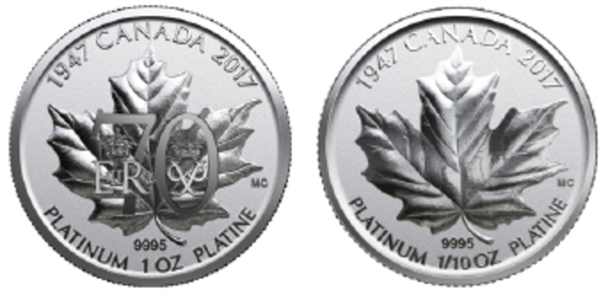 The queen of Canada and her spouse get full acknowledgment on a pure platinum $300 left and $150 struck by the Royal Canadian Mint. The $300 links the royal monograms of the queen and Prince Phillip. (Images courtesy Royal Canadian Mint)