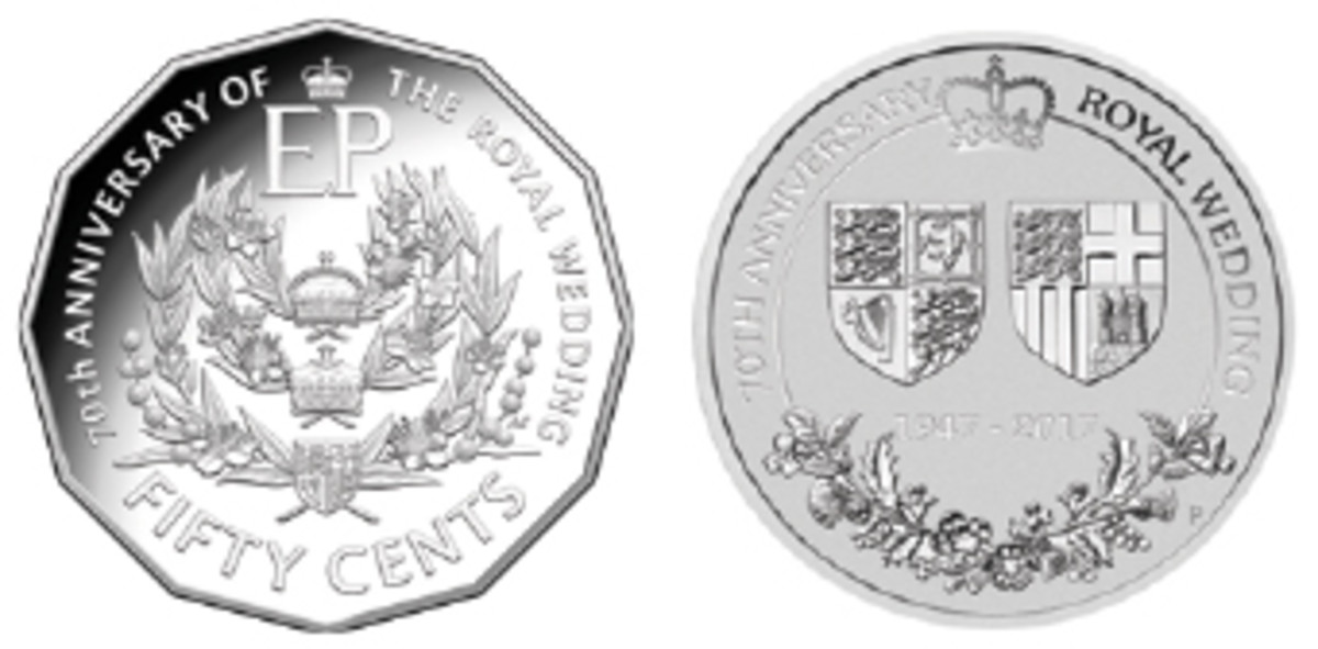 Australia marks the wedding anniversary with royal coats of arms. Left: RAM's Aleksandra Stokic traces the succession of the House of Windsor on a silver 50 cents; right: Perth's Aleysha Howarth opts for unadorned arms with crown above and floral emblems of the United Kingdom below. (Images courtesy The Royal Australian and Perth Mints)