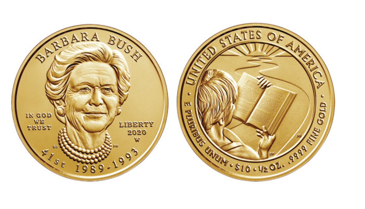 The obverse and reverse designs were chosen for the Barbara Bush First Spouse gold coin, representing the importance of family literacy and her devotion to said subect.