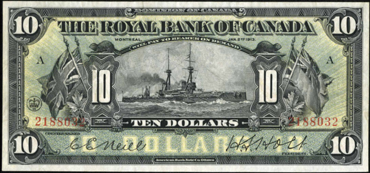 Face of Royal Bank of Canada's $10 dated Jan. 2, 1913, P-S1379, showing the dreadnought battleship HMS Bellerophon. Image courtesy www.ha.com.
