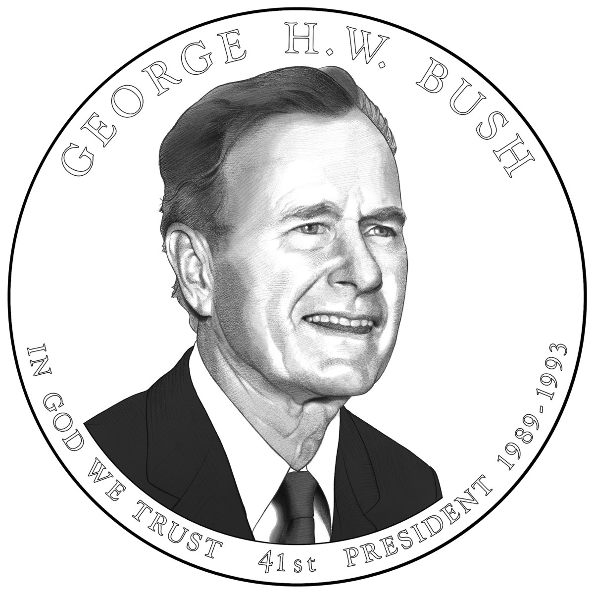 The obverse design for the George W. Bush Presidential $1 coin. (All images courtesy U.S. Mint)