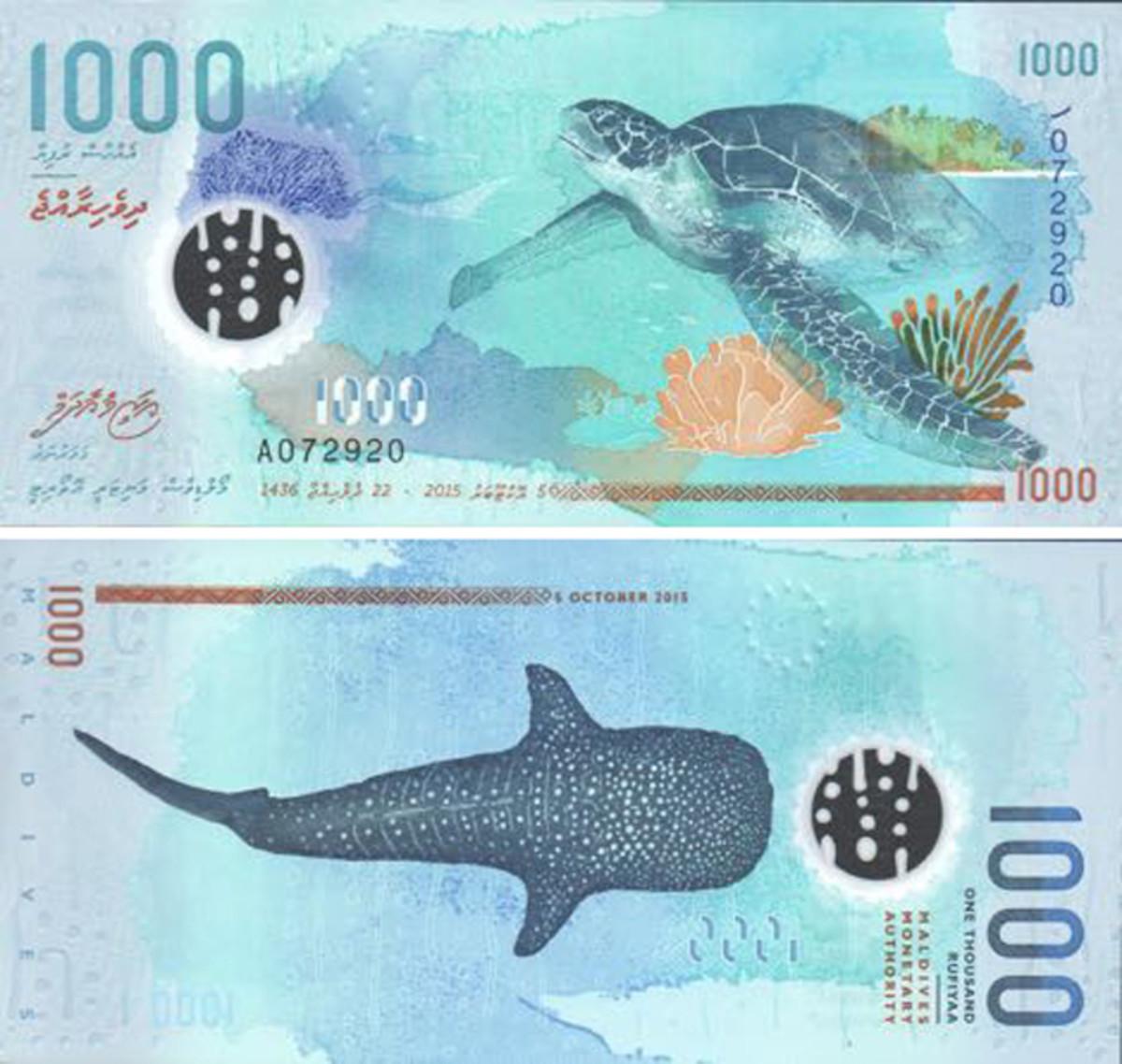 The new 1,000 rufiyaa note.