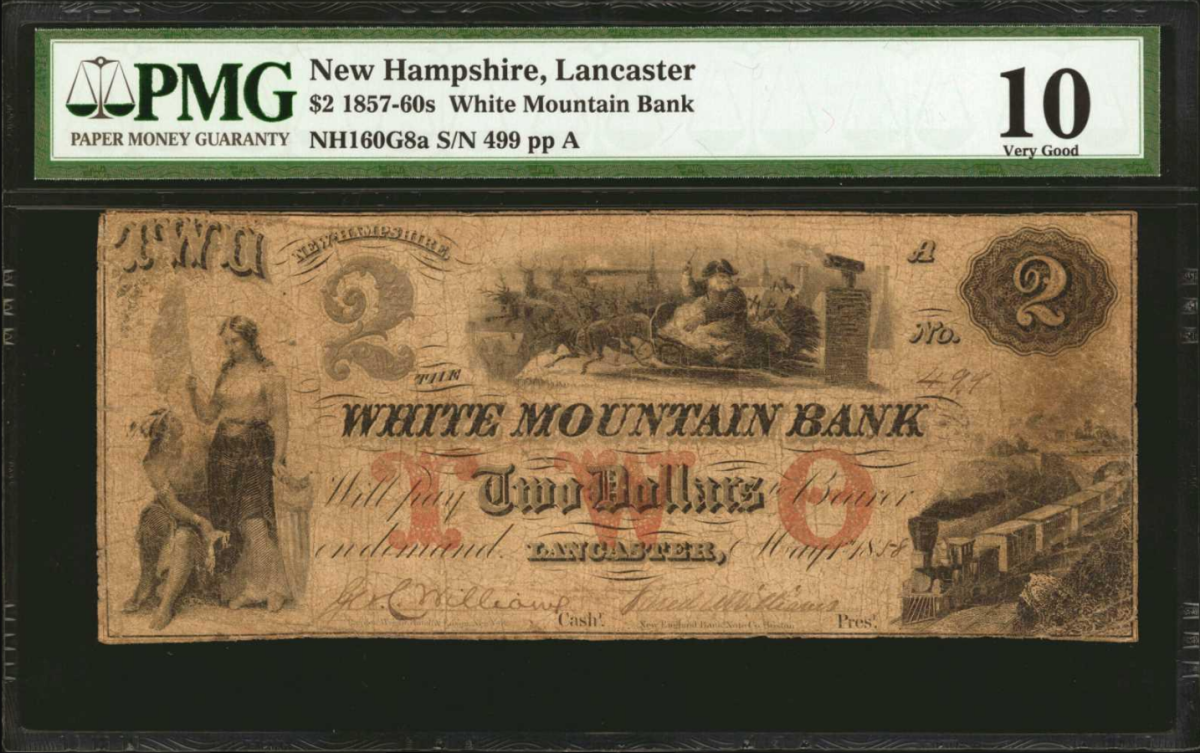 Lot 10024 was a $2 Lancaster, New Hampshire, White Mountain Bank note from 1857-1860s. The condition is PMG Very Good 10. There is a  Santa Claus in sleight at top. The vignette at left depicts two females. The note has a  very popular and scarce Santa Claus type, excellent signatures, minor repairs. Realized $1,500. Image courtesy of Stack's Bowers.