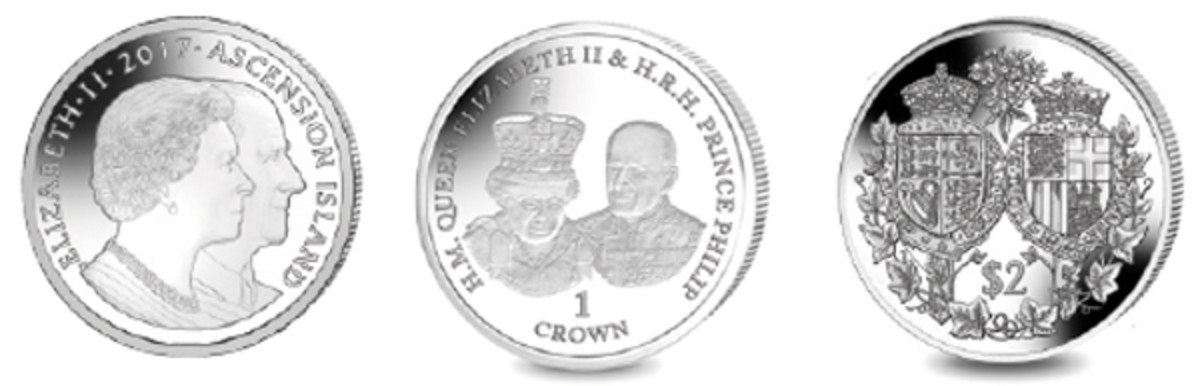Ascension Island's crown (left and center) and the reverse of Fiji's $2 (right) struck by Pobjoy Mint to mark the royal platinum wedding anniversary. (Images courtesy Pobjoy Mint)