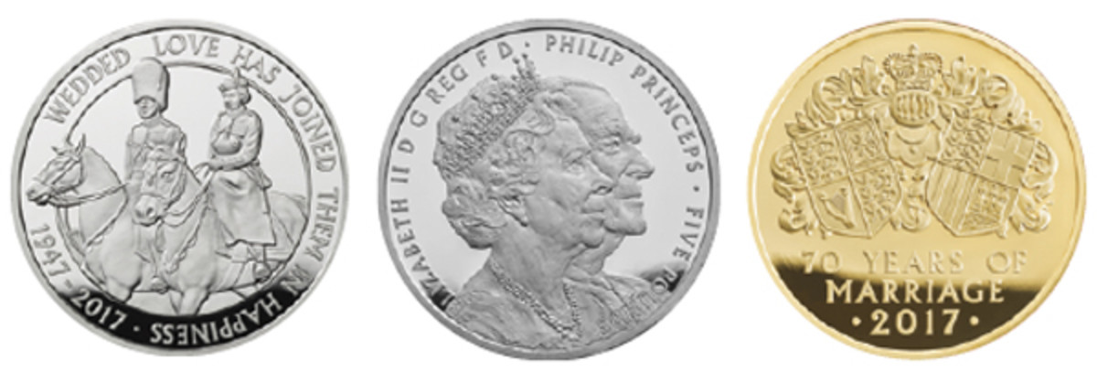 John Bergdahl's two reverse designs and Etienne Millner's impressive obverse used on Britain's coins struck by the Royal Mint to mark the 70th wedding of the Queen and her consort Prince Philip. Left: The royal pair share a passion for riding; center: Millner's conjoined portraits; right: coats-of-arms show the couple's heraldic lineage. (Images courtesy & © The Royal Mint)