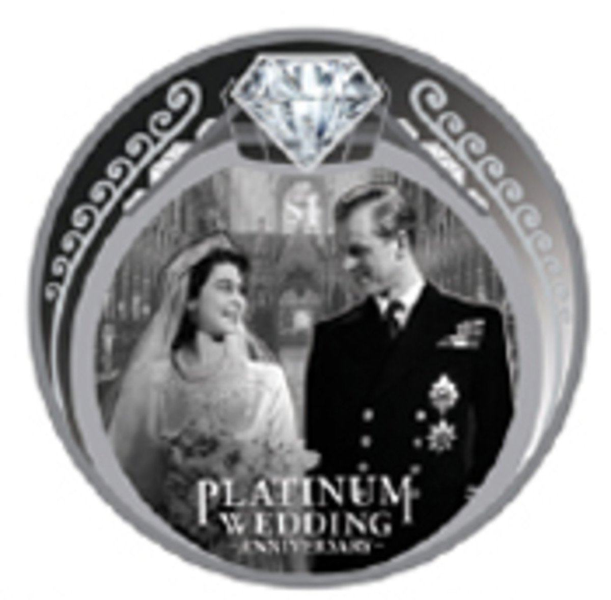 The happy couple leaves Westminster Abbey on Nov. 20 1947 on the reverse of New Zealand's silver dollar. Around is the royal engagement ring in which the place of the original central stone is taken by a large Swarovski crystal. (Image courtesy New Zealand Post)