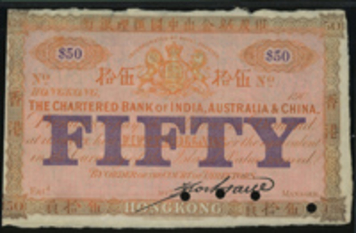 "Equal top price of sale of $99,372 was paid for this Chartered Bank of India, Australia and China specimen $50 (cf. P-38) that came graded PMG 40 Extremely Fine. Note partial date ""190_"". (Image courtesy and © Spink, China.)"