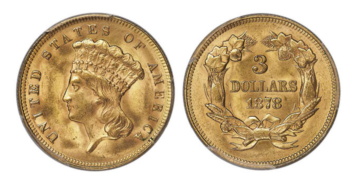Shown here, an 1878 Three Dollar Doubled Die Reverse, graded MS-64 by PCGS.  (Image courtesy of Heritage Auctions)