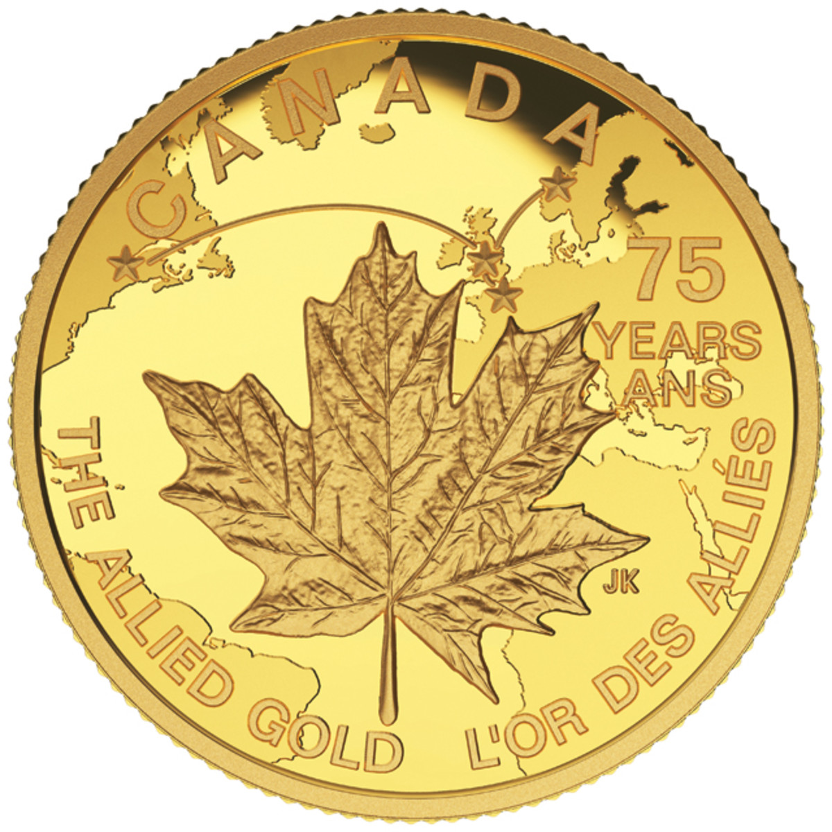 Joel Kimmel's reverse design of Canada's $75 gold proof that recalls the flight of Norway's gold in April-May 1940. Image courtesy Royal Canadian Mint.
