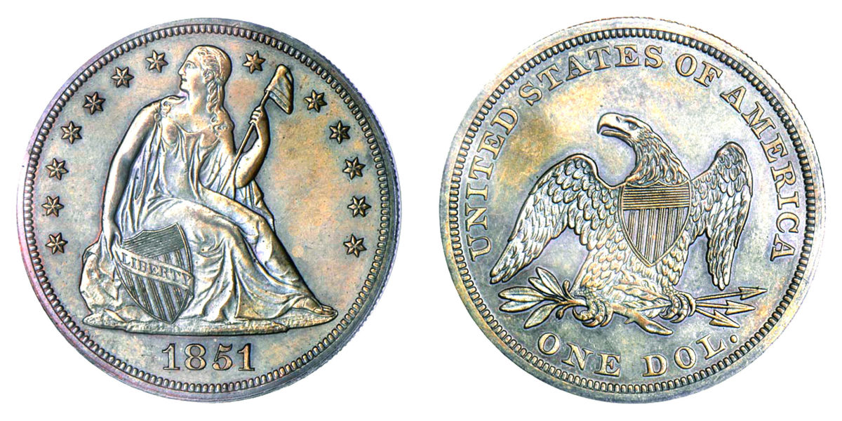 Silver dollars of 1851 and 1852 have long been known as rare. Images courtesy Stacks Bowers