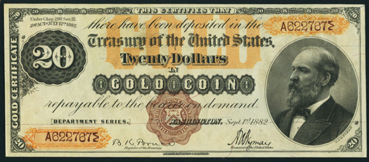 Described as the finest known, this 1882 $20 Gold Certificate will likely star at the FUN show.