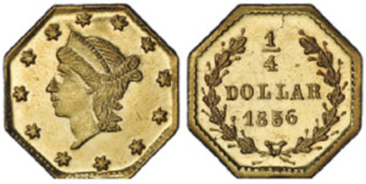 """Part of the finest group of its kind in history, this 1856 gold 50-cent coin (BG-311), now graded PCGS MS-68+PL, was among 112 California fractional gold pieces recovered from the fabled """"Ship of Gold."""" (Photo courtesy Professional Coin Grading Service www.PCGS.com)"""