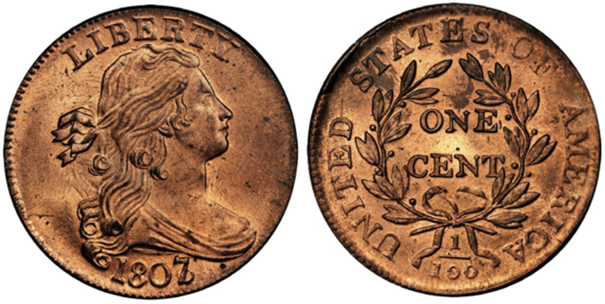 PCGS-certified Mint State-66 RD 1807/6 large cent, Sheldon-273