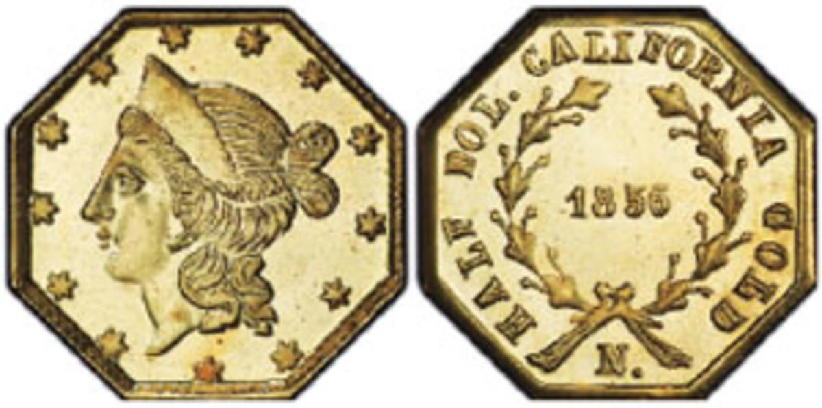 1855 $1 (BG-533), PCGS MS-64PL. (Photo courtesy Professional Coin Grading Service www.PCGS.com)