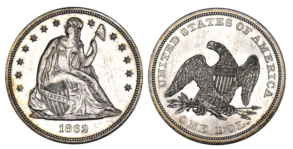 1862 silver dollar. Images courtesy Stacks Bowers