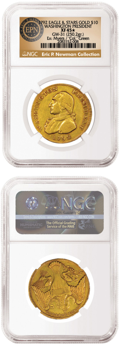 """The obverse of Newman's unique gold pattern features a bust of Washington surrounded by """"WASHINGTON PRESIDENT"""" and the 1792 date. The reverse features a heraldic eagle based on the Great Seal of the United States. It bears an edge lettered """"UNITED STATES OF AMERICA."""" (Images courtesy NGC)"""