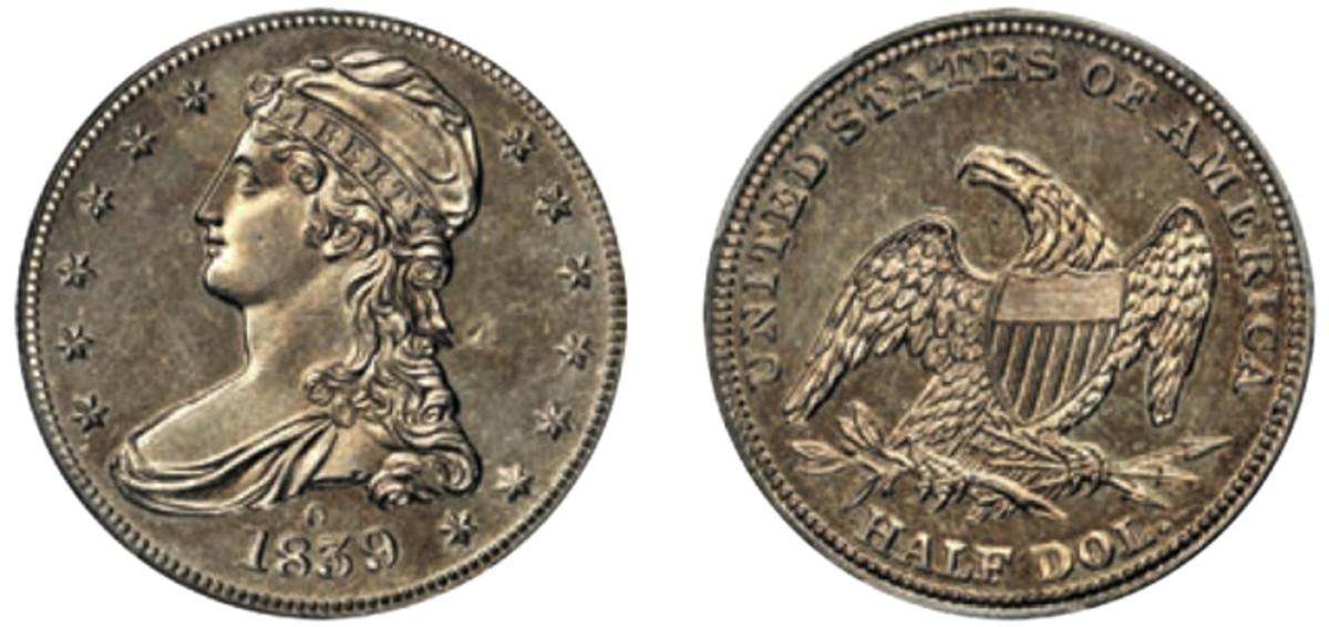 PCGS-certified Branch Mint Specimen-62 1839-O Reeded Edge half dollar