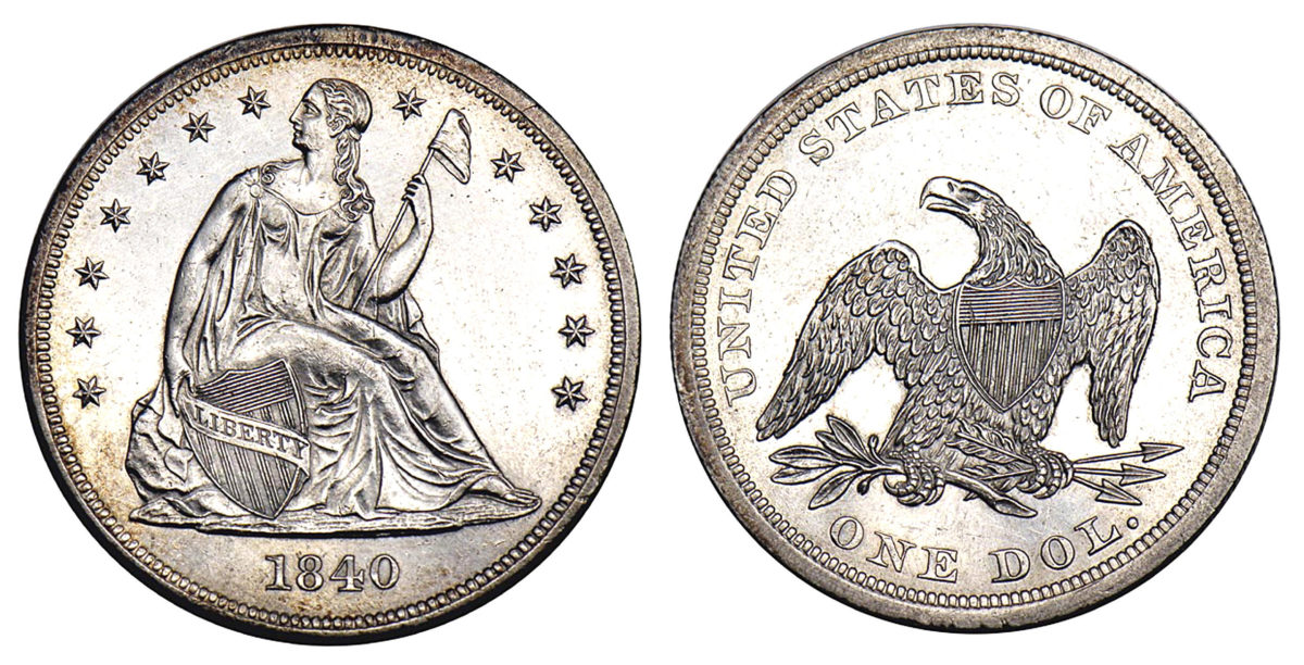 Seated Liberty dollar coinage began in 1840. Images courtesy Stacks Bowers