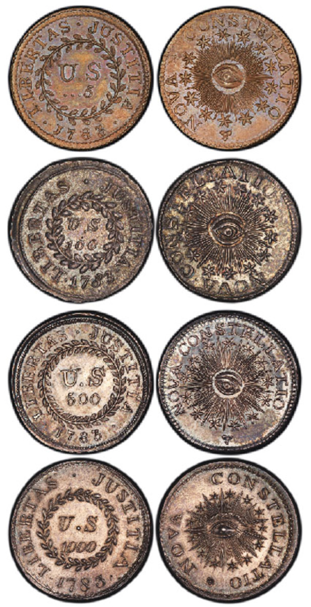 The only complete four-coin set of 1783 Nova Constellatio patterns will be at the August ANA convention in Philadelphia. (Photos courtesy Professional Coin Grading Service www.PCGS.com)