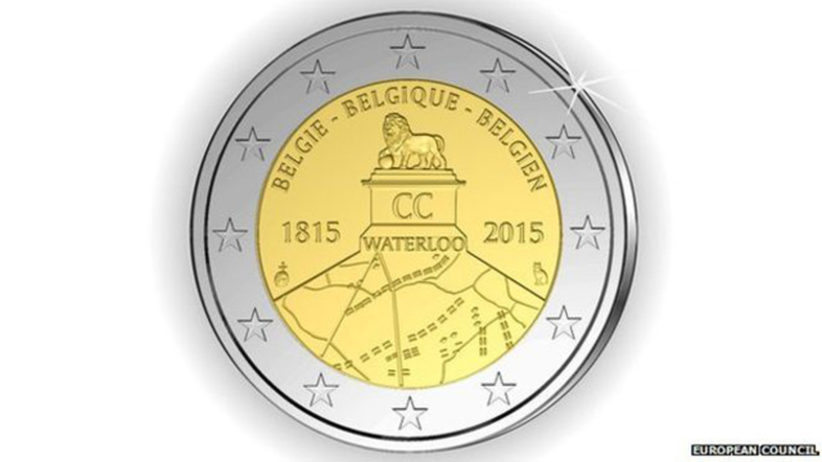 The controversial design for Belgium's 2 euro coin commemorating the Battle of Waterloo led to the design being declared unfit from circulation.