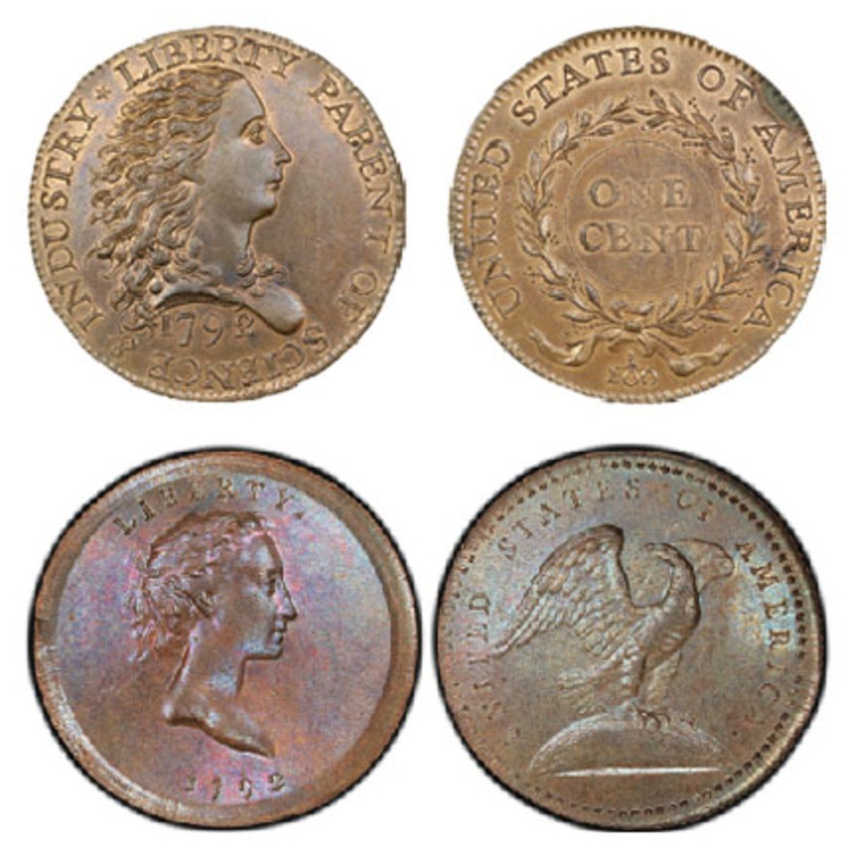 The Birch cent, top, and Eagle-on-Globe pattern copper quarter will be displayed at the ANA convention. (Photos courtesy Professional Coin Grading Service www.PCGS.com)
