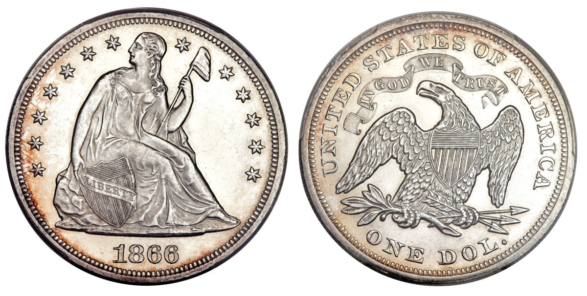 The motto IN GOD WE TRUST was added to the reverse in 1866. Images courtesy Heritage.