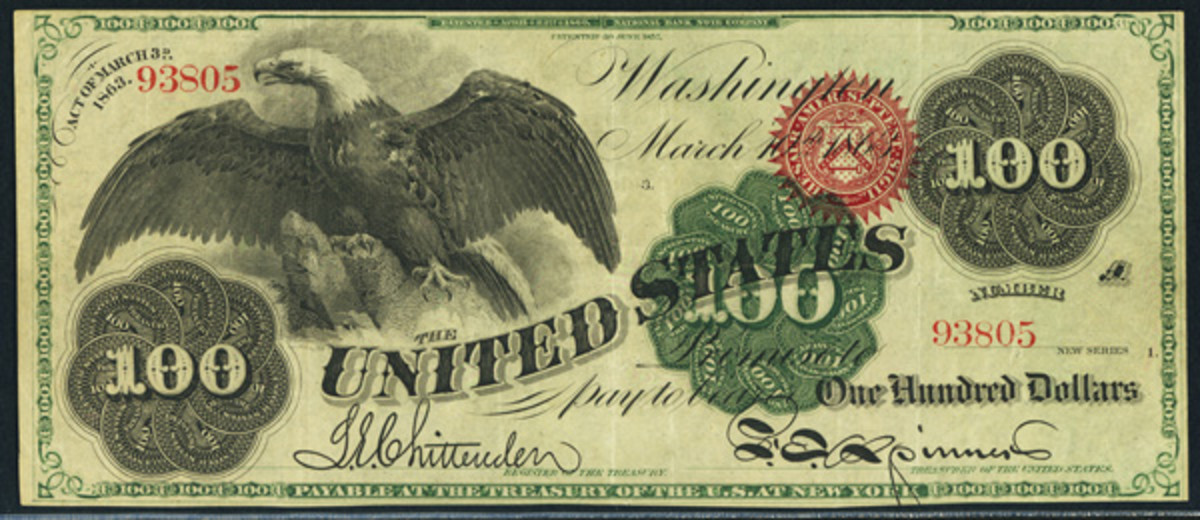 """This rare 1863 Legal Tender """"Spread Eagle"""" $100 is graded PCGS Extremely Fine 40."""