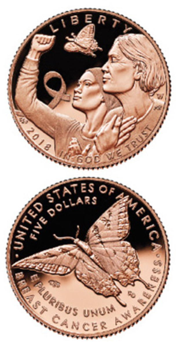 Breast cancer affects many women and their families. A pink gold $5 symbolizes the battle.