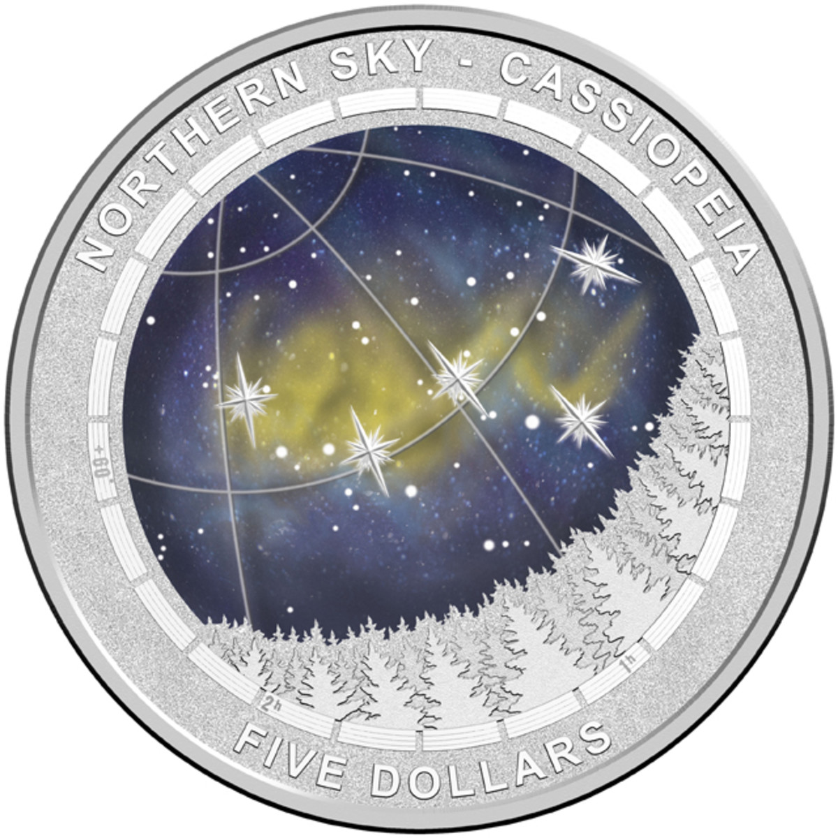 Reverse of RAM's first, domed, Northern Night Sky Series $5.