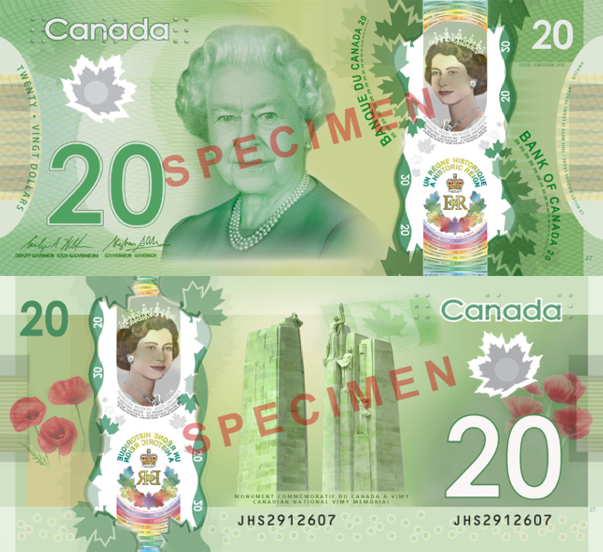 Obverse (top) and reverse (bottom) of the new $20 Canadian bank note.