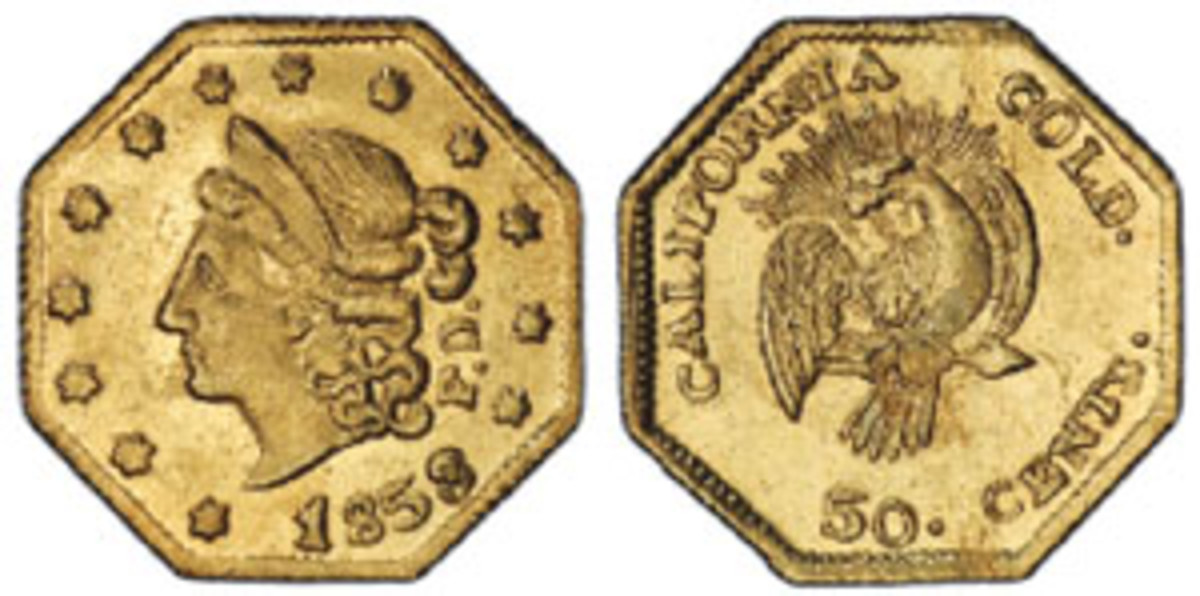 """A rare Peacock variety 50-cent gold coin (BG-302), graded PCGS MS-64, was among the 112 historic California fractional gold coins recovered in the last sunken treasure expedition to the """"SS Central America."""" (Photo courtesy Professional Coin Grading Service www.PCGS.com)"""