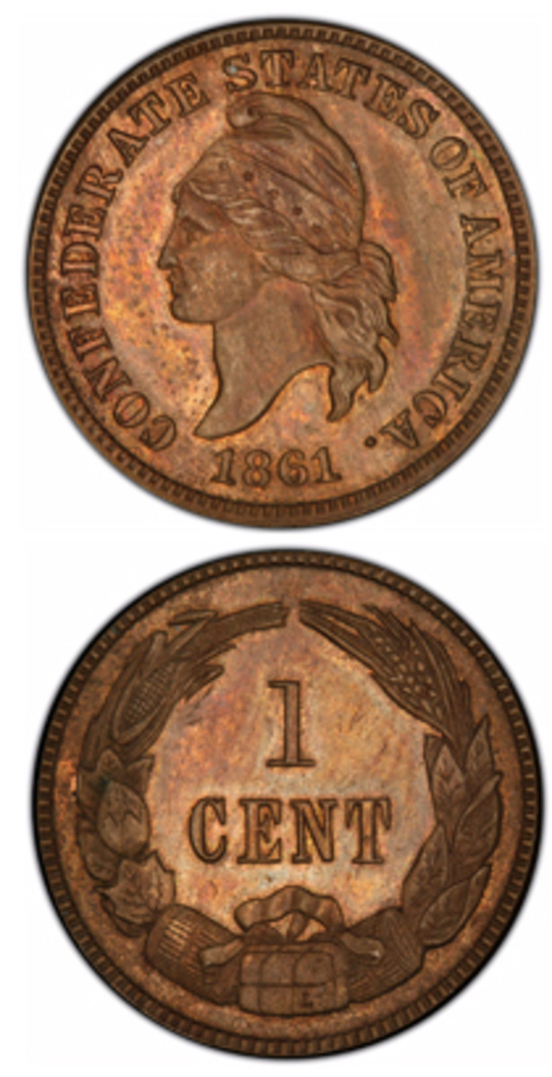 The Confederate cent was actually a product of a Philadelphnia engraver, Robert Lovett. This and the half dollar will be on display in August at the American Numismatic Association World's Fair of Money in Philadelphia.