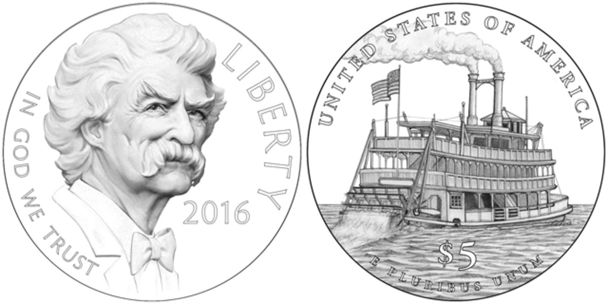 Obverse (left) and reverse (right) of the 2016 Mark Twain gold coin.