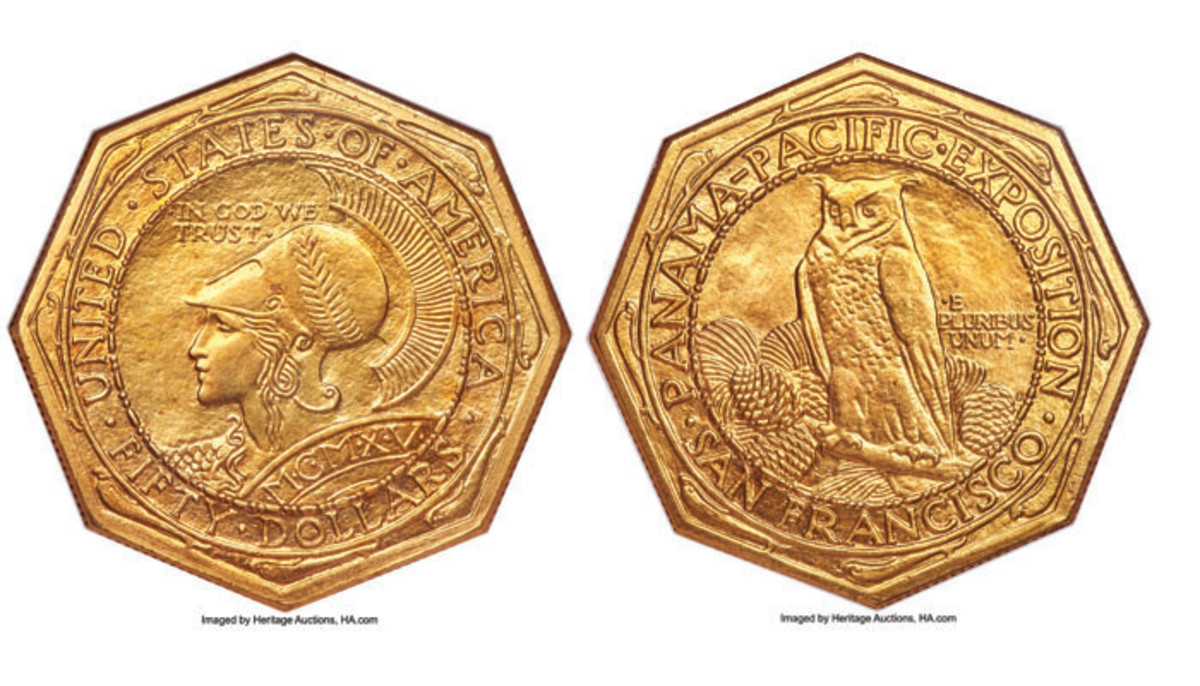 1915-S Panama-Pacific Fifty, MS-63.  Only 645 examples distributed of this iconic octagonal version.  (Image courtesy of Heritage Auctions)