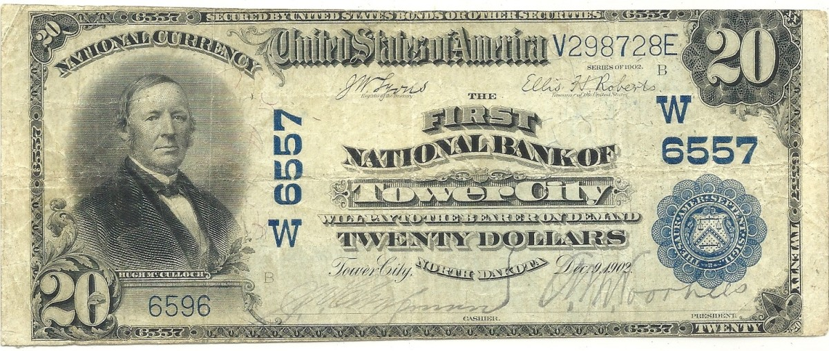 This Series of 1902 $20, new to the author's collection, was the impetus for including Tower City, North Dakota, in this article.