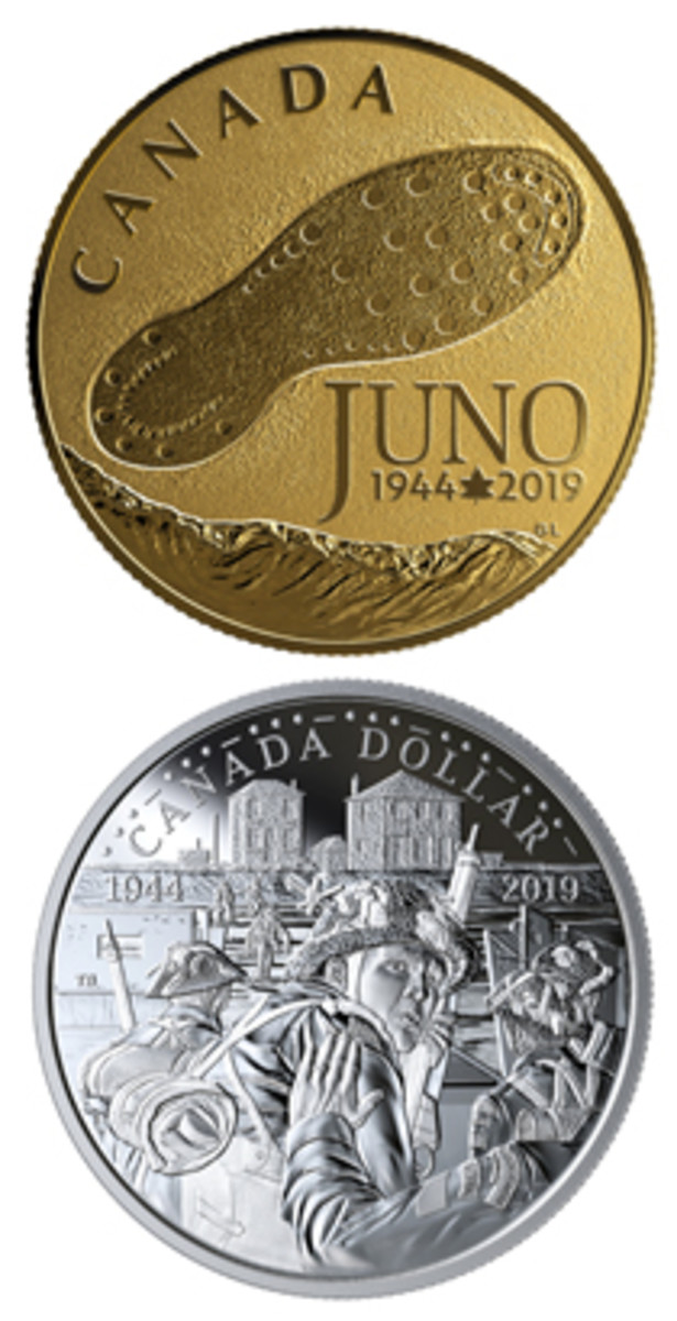 TOP: Reverse of a Canadian $100 gold proof remembering the landing of 14,000 Canadian troops at Juno Beach on June 6, 1944. BOTTOM: An apprehensive young Canadian soldier pauses momentarily on the reverse of a 2019 silver dollar before leaping into the surf to make his contribution to the D-Day landings. (Images courtesy Royal Canadian Mint)
