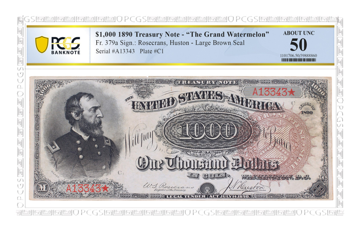 """PCGS Banknote recently graded this 1890 $1,000 """"Grand Watermelon"""" note. (Images courtesy Professional Coin Grading Service)"""
