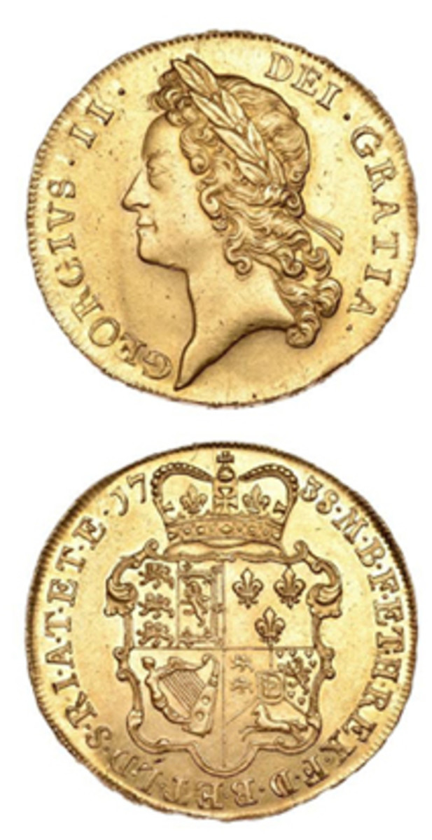 Top-selling George II 5 guineas of 1738 (KM-571.1) realized $36,366 in gEF. (Images courtesy DNW)