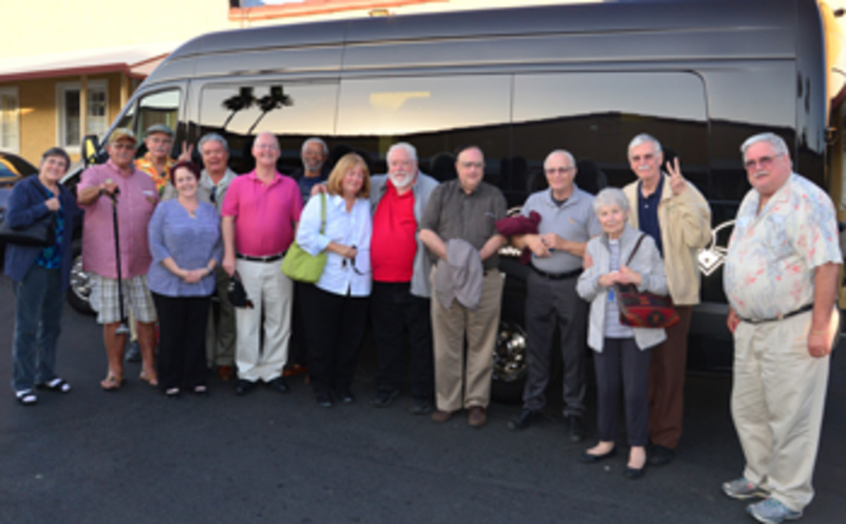 """The social aspect of numismatics was not neglected at the seminar. On Sept. 15, a group went to Napa Valley. Left to right, Eleanor Miles, Michael S. Turrini, Fred G. van den Haak, Maria E. Stillwagon, Robert E. Luna, David C. Harper, Herbert Miles, Earline Millier, Donald L. Hill, Paul R. Johnson, David """"Mr B"""" Barthlemass, Edward H. Jarvis with Judy Jarvis, and James H. Laird. Laird is the benefactor who made it possible. Limos were provided by Black Tie Transportation of Pleasanton, Calif.. Photographs are by Lloyd G. Chan."""
