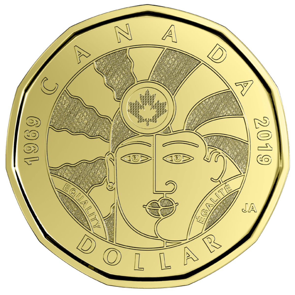 Joe Average's design for the reverse of Canada's new Equality dollar that marks 50 years of recognizing the rights of LGBTQ2 Canadians. The image of two intertwined faces reflects gender fluidity and the spectrum of genders. They are left open to interpretation. They may belong to two individuals or they may represent different aspects of a single person's identity. (Image courtesy Royal Canadian Mint.)