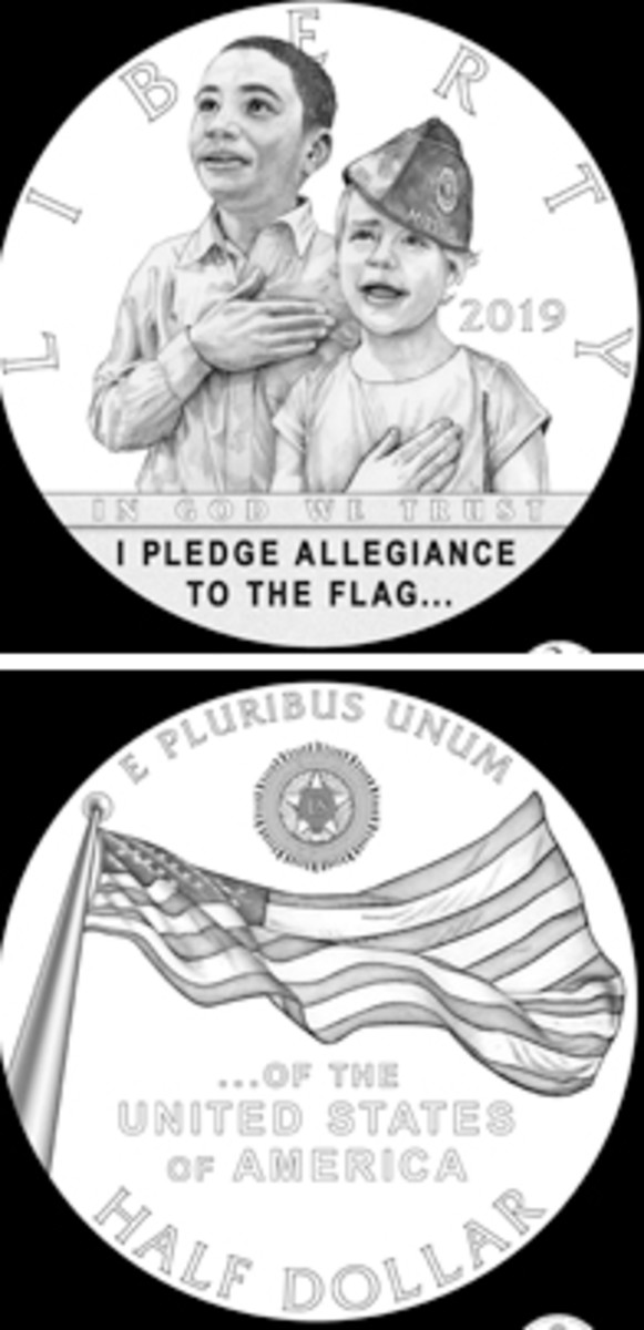 The recommended half dollar obverse and reverse designs honor the Pledge of Allegiance.