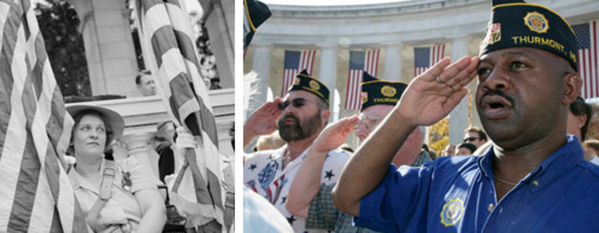 Left: Arlington Cemetery, Arlington, Va., 1943: An American Legion color bearer at the Memorial Day services in the amphitheater. (Library of Congress photo) Right: Veterans from the American Legion Post Thurmont, Maryland, salute during Veteran's Day ceremonies, Saturday, November 11, 2006, at Arlington National Cemetery. (Photo courtesy Bush White House Archives)