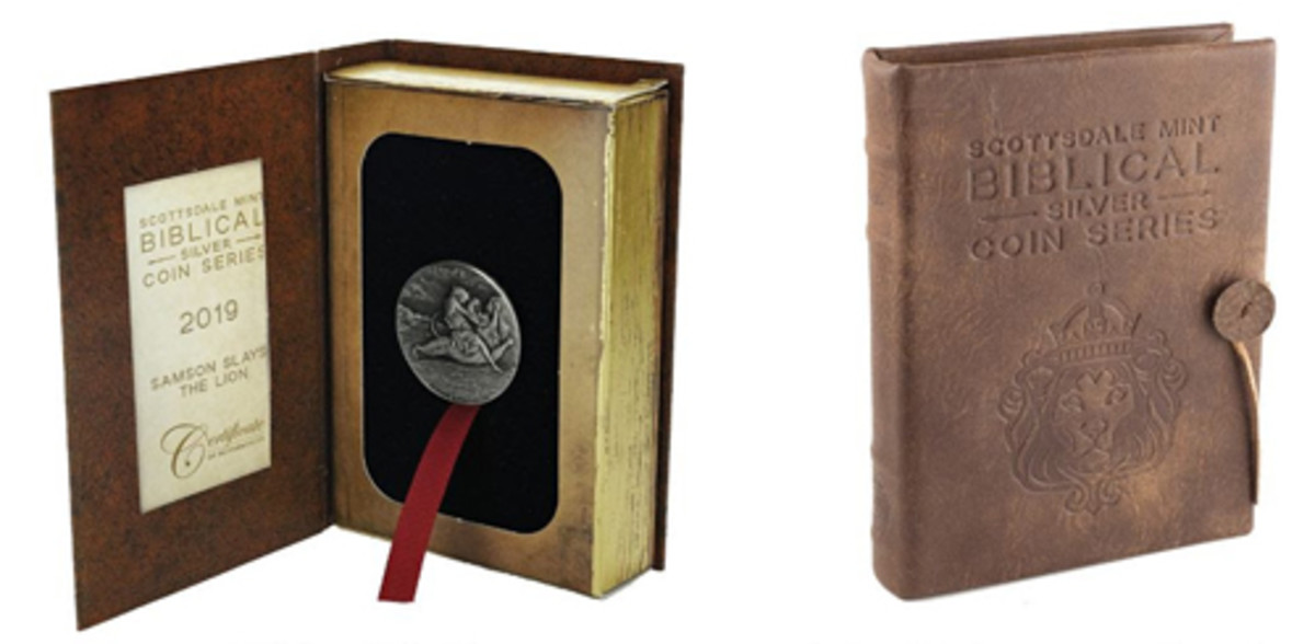 Packaging takes the form of a Bible gift box (left). Leather cases hold up to six coins (right).