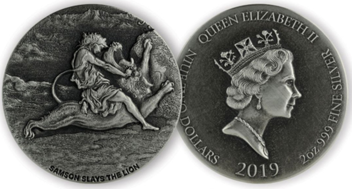 """Reverse (left) and obverse (right) of Scottsdale Mint's """"Samson Slays the Lion"""" silver $2 coin for 2019."""