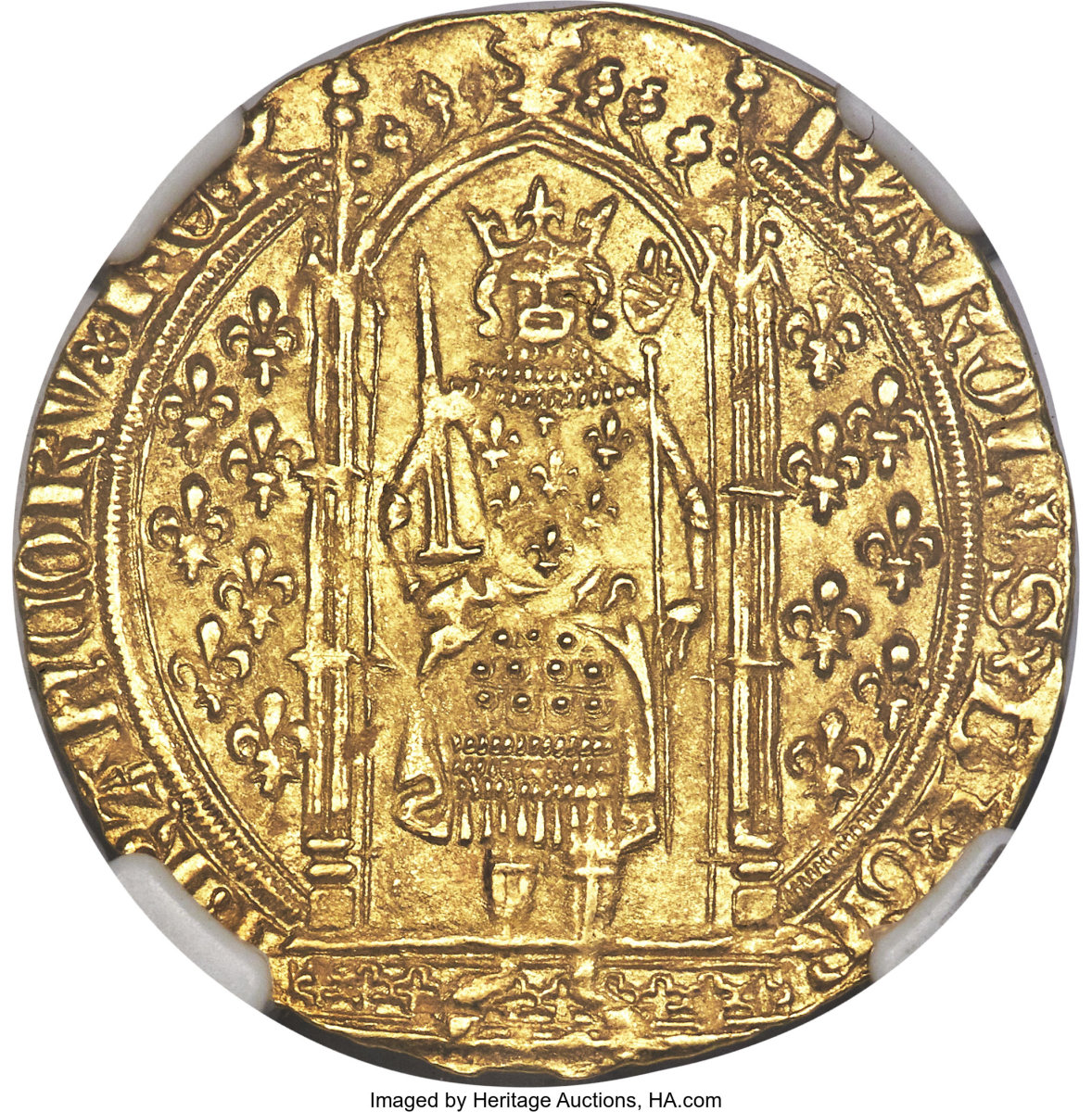 Top lot: the mint state Charles V gold franc à pied (Fr-284; Dup-360) that realized $9,000 in MS66 NGC - the highest grade of 122 certified examples. Images courtesy & © Heritage Auctions