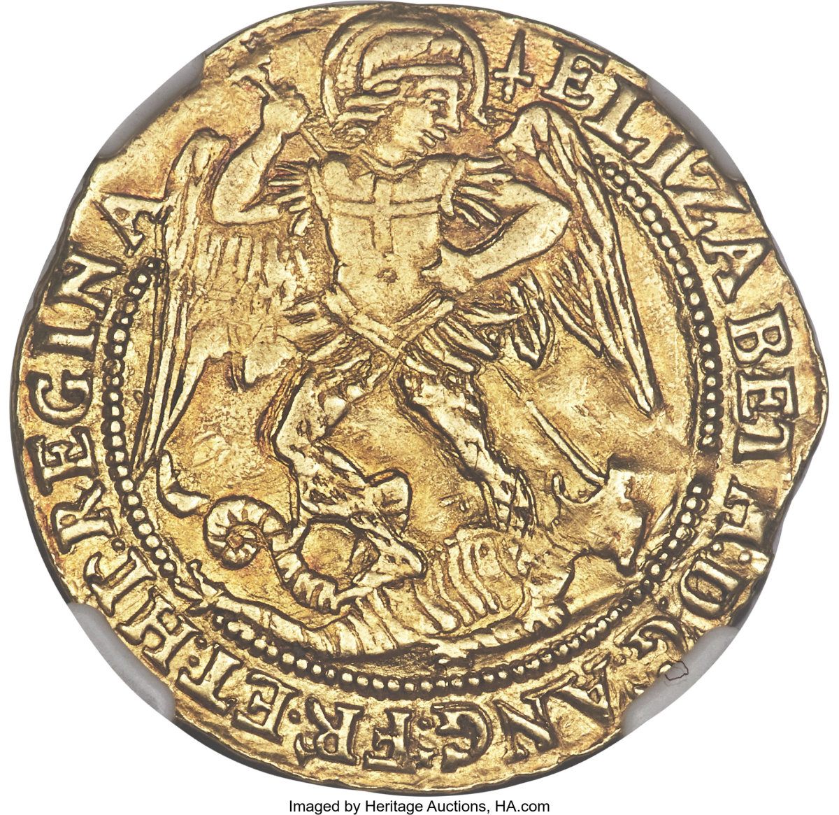Top English coin: superbly engraved, scarce fifth issue gold angel of Elizabeth I (S-2525) that took $7,200 in AU55 NGC grade. Images courtesy & © Heritage Auctions
