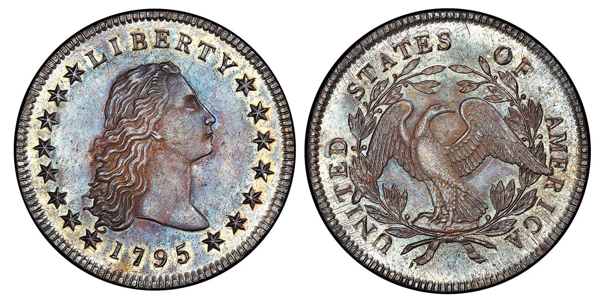 The 1795 Flowing Hair dollar with three leaves under each wing. (Images courtesy of Stack's Bowers)