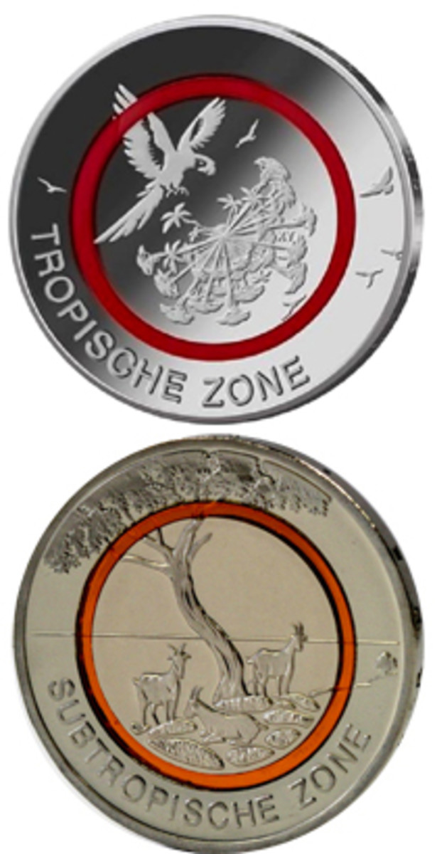 Reverses of Tropical Zone and Subtropical Zone 27.25 mm, 9 g cupronickel bimetallic 5-euro coins in which cores and rims are separated by polymer rings. (Images Deutsche Bundesbank & State Mints of Baden-Wuerttemberg)