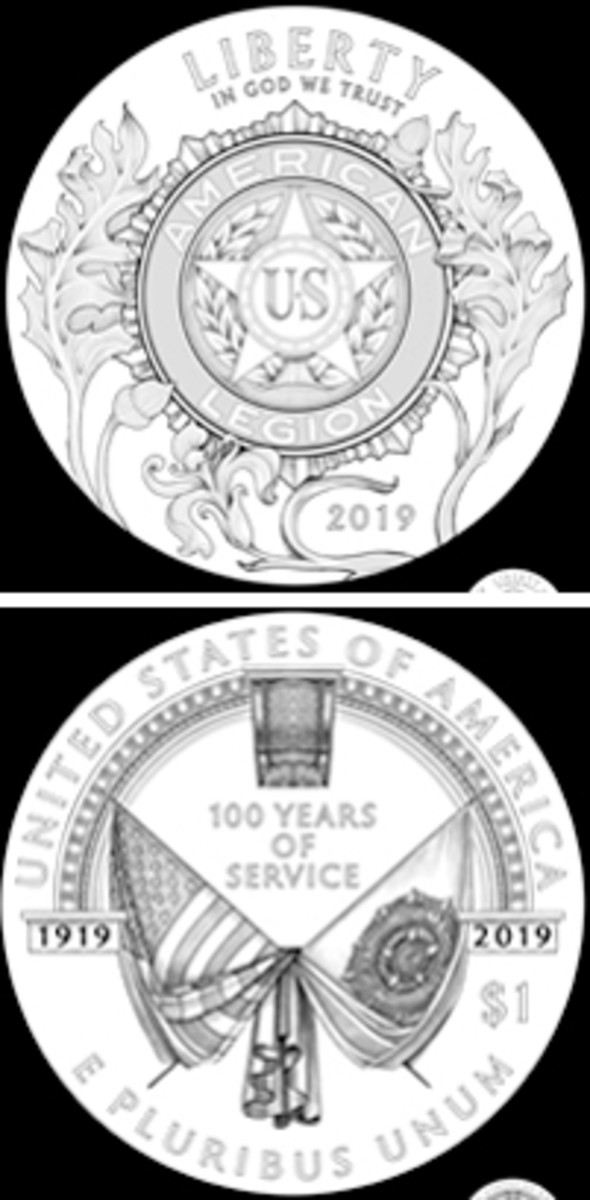 The familiar American Legion logo is the centerpiece of the recommended silver dollar designs.