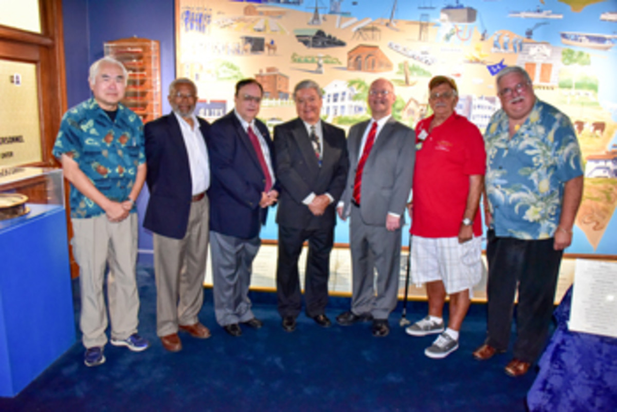 Lloyd Chan, who shot most of the photos, appears in this one at left, with Herbert Miles, Paul Johnson, Robert Luna, Dave Harper, Stan Turrini and James Laird.